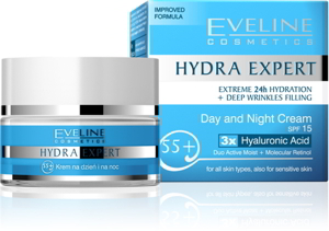 Eveline Hydra Expert Day and Night Cream 55+, Kem dưỡng da Ngày Đêm 55+